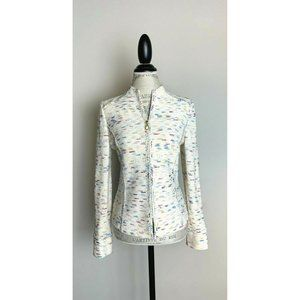 St John Collection Ivory Multi Zip Suit Jacket 4